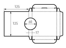 Коробка из однослойного картона 125x125x17 акустическая