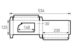 Коробка из однослойного картона 125x230x30, СПА