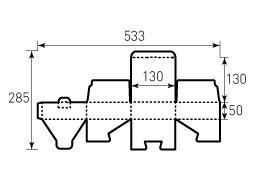 Коробка из однослойного картона 130x130x50