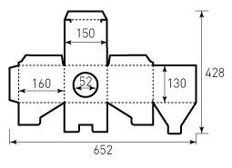 Коробка из однослойного картона 150x160x130 мм, с отверстием диаметром 52 мм