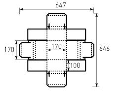 Коробка из однослойного картона 170x170x100 мм, для торта