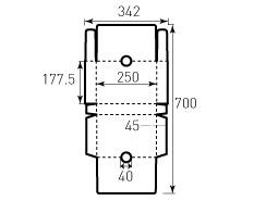 Коробка из однослойного картона 177.5x250x45 мм, с отверстием диаметром 40 мм