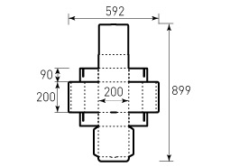 Коробка из однослойного картона 200x200x90