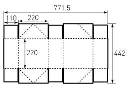 Коробка из однослойного картона 220x220x110