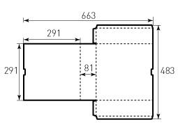 Коробка из однослойного картона 291x291x81 ВР