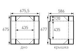 Коробка из однослойного картона 435x435x120