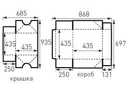 Коробка из однослойного картона 435x435x250