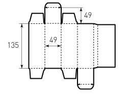 Коробка из однослойного картона 49x49x135 мм, коллаген