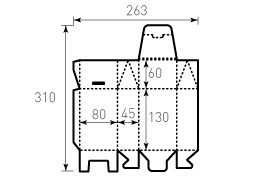 Коробка из однослойного картона 80x45x190 мм, чайный