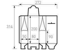 Коробка из однослойного картона 80x50x200 мм, чайный