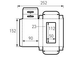 Коробка из однослойного картона 90x152x23 мм, с окном 50x112 мм