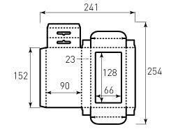 Коробка из однослойного картона 90x152x23 мм, с окном 66x128 мм