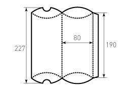 Коробка из однослойного картона 80x190 мм, для пирожка