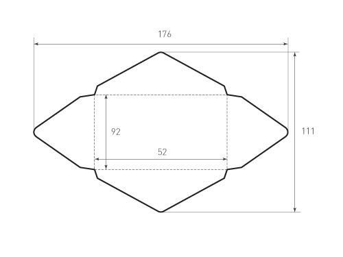 Конверт горизонтальный 92x52 под визитку. Превью 500x375 пикселов