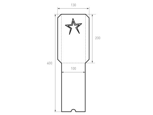 Вертикальный конверт 100x200 звезда. Превью 500x375 пикселей
