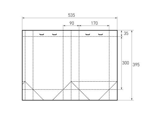 Вертикальный пакет 170-300-90 с лентами. 500x375 пикселов