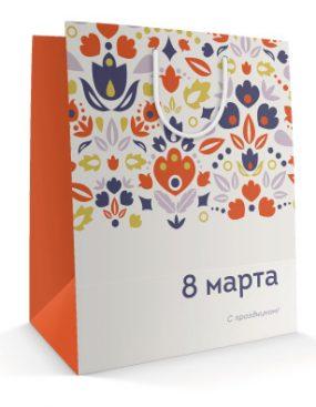Праздничный бумажный пакет к 8 марта Цветочная поляна