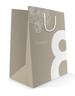 Праздничный бумажный пакет к 8 марта Большая восьмерка