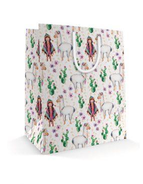540x395 Праздничный бумажный пакет к 8 марта Девочка и лама