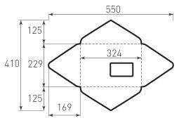 Ц4 горизонтальный конверт 324x229, треугольный клапан, окно в конверте