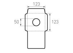 Квадратный конверт 123x123. Диаметр окна 50 мм