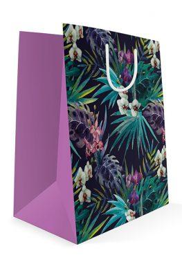 Праздничный бумажный пакет к 8 марта Тропические цветы
