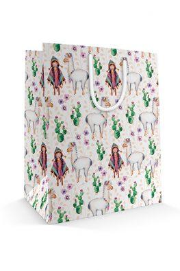 Бумажный пакет Девочка и лама