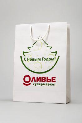 """Новогодний бумажный пакет для супермаркета """"Оливье"""""""