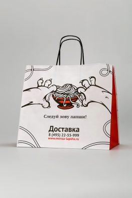 """Бумажные пакеты из крафт-бумаги для службы доставки кафе """"Menza"""""""