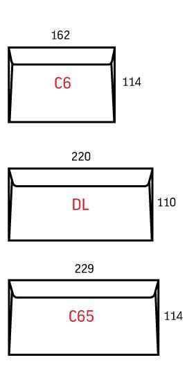 Размеры календарей C65, DL, C6