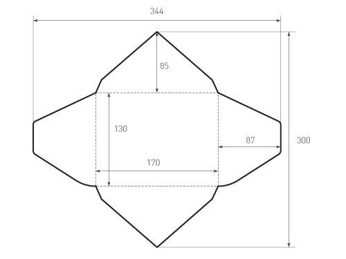 Конверт горизонтальный треугольный 170x130