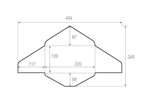Конверт горизонтальный, треугольный 220x120