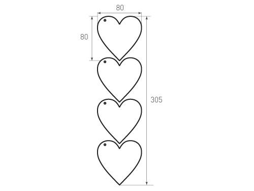 Бирка сердце 80x80