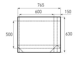 Горизонтальный бумажный пакет G600x500x150