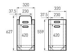 Вертикальный бумажный пакет V230x420x75