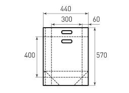 Вертикальный бумажный пакет V300x400x120 с ручками