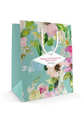Бумажный пакет с персональным поздравлением к 8 марта «Счастье близко»