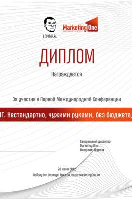 """почетный диплом конференции """"Партизанский маркетинг"""""""