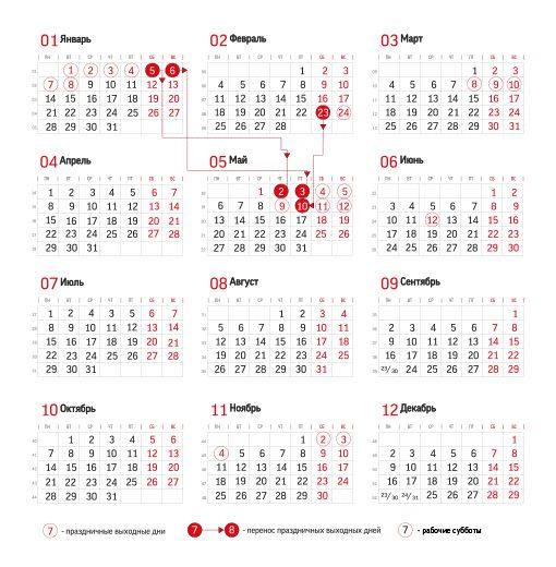 Календарь праздников России на 2019 год. Перенос праздничных дней.